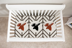 Plaid Moose Trio Crib Sheet, Lumberjack Nursery Decor