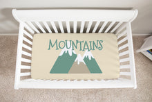 Load image into Gallery viewer, Mountain Adventure Crib Sheet, Camper Nursery Bedding