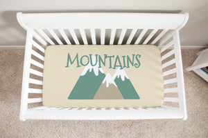 Mountain Adventure Crib Sheet, Camper Nursery Bedding