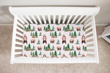 Load image into Gallery viewer, Bear and Trees Minky Crib Sheet, Woodland Nursery Bedding - Grizzly Bear