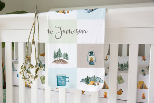 Explorer Personalized Sherpa Blanket, Camping Nursery Bedding - Little Explorer