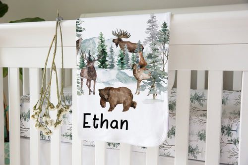 Forest Personalized Sherpa Blanket, Woodland Nursery Bedding - Enchanted Forest