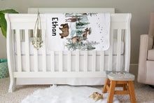 Load image into Gallery viewer, Forest Personalized Sherpa Blanket, Woodland Nursery Bedding - Enchanted Forest
