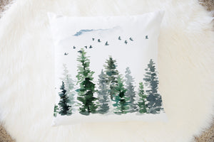 Pine Trees Pillow, Forest Nursery Decor - Enchanted Forest