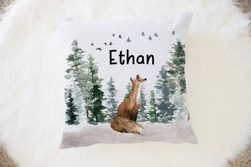 Fox Personalized Pillow, Woodland Nursery Decor - Enchanted Forest