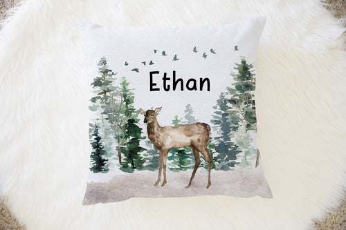 Doe Personalized Pillow, Woodland Nursery Decor - Enchanted Forest