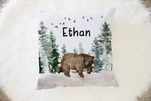 Load image into Gallery viewer, Bear Personalized Pillow, Woodland Nursery Decor - Enchanted Forest