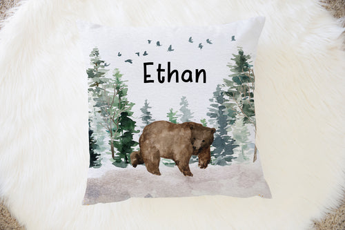 Bear Personalized Pillow, Woodland Nursery Decor - Enchanted Forest