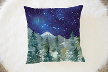Load image into Gallery viewer, Majestic Forest Dark Blue Sky Pillow, Forest Nursery Decor
