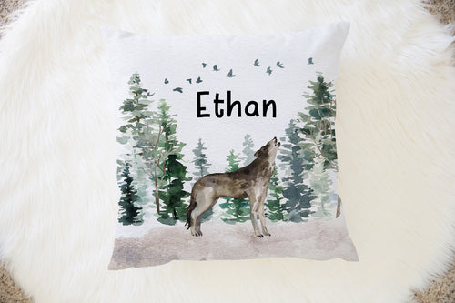 Wolf Personalized Pillow, Woodland Nursery Decor - Enchanted Forest