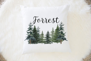 Pine Trees Personalized Pillow, Woodland Nursery Decor - The Forest