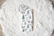 Load image into Gallery viewer, Forest Swaddle and Hat Set, Deer Hospital Baby Boy Blanket - Enchanted Forest