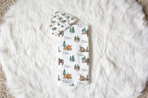 Woodland Swaddle and Hat Set, Bear Hospital Baby Boy Blanket - Little Explorer