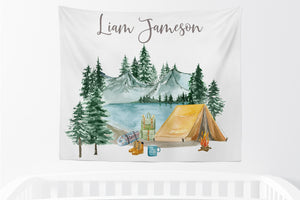 Personalized Camping Tapestry, Camper Boys Room Decor - Little Explorer