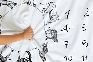 Black and White Safari Personalized Milestone Blanket, Safari Nursery Bedding - Black Africa