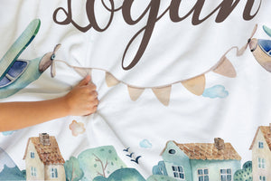 Airplane Personalized Minky blanket, Aviator Nursery Bedding - Up In The Sky
