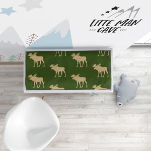 Green Moose Changing Pad Cover, Rustic Baby Bedding