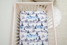 Load image into Gallery viewer, Blue Forest Crib Sheet, Mountains Nursery Bedding - Wild Blue