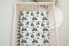 Load image into Gallery viewer, Bear Track  Crib Sheet, Forest Nursery Bedding - Forest Mist