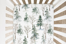 Load image into Gallery viewer, Forest Crib Sheet, Pine Tree Nursery Bedding - Enchanted Forest