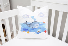 Load image into Gallery viewer, Blue Whale Throw Pillow, Nautical Nursery Bedding