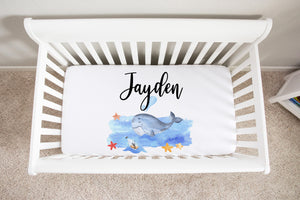 Blue Whale Personalized Minky Crib Sheet, Nautical Nursery Bedding