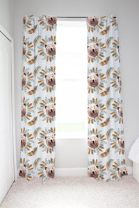 Tribal - BohoGrizzly Bear Face Curtains, Woodland Nursery Decor