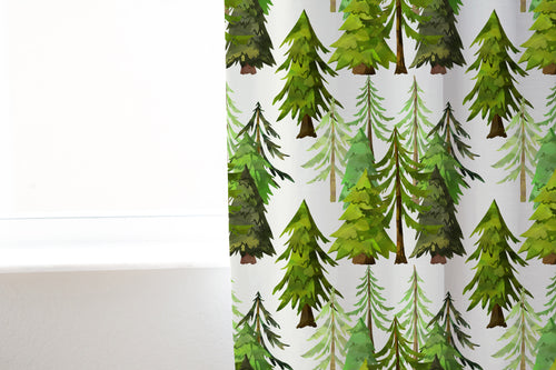 Forest Curtain Single Panel, Woodland Nursery Decor - Into The Woods