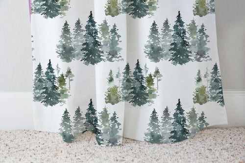 Pine Trees Curtain Single Panel, Forest Nursery Decor - Majestic Forest