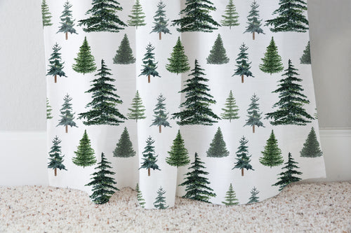 Pine Trees Curtain Single Panel, Woodland Nursery Decor - The Forest