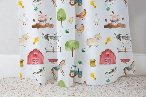 Logan's Farm Barn and Farm Animals Curtain, Farm Nursery Decor