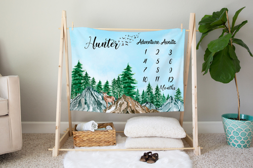 Little Explorer Adventure Awaits Milestone Blanket, Woodland Nursery Bedding