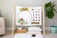 Load image into Gallery viewer, Jack Milestone Blanket, Lumberjack Nursery Bedding