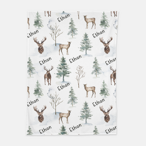 Forest Swaddle and Hat Set, Deer Hospital Baby Boy Blanket - Enchanted Forest