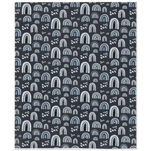 Load image into Gallery viewer, Blue Rainbow Minky Blanket | Rainbows Nursery Bedding