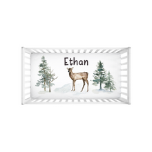 Load image into Gallery viewer, Personalized Deer Crib Sheet, Woodland Nursery Bedding - Enchanted Forest