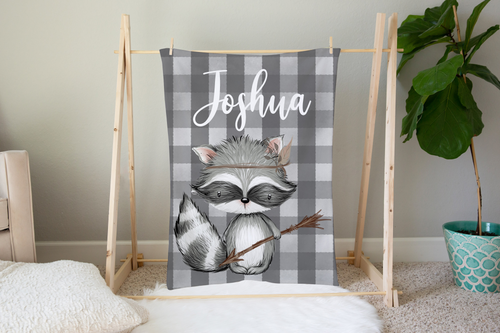 Woodland Tribe Raccoon Personalized Minky Blanket, Woodland Nursery Bedding
