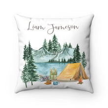 Load image into Gallery viewer, Camping Personalized Pillow, Camper Nursery Decor - Little Explorer