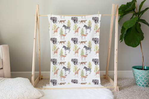 Savanna Animals Minky Blanket, Safari Nursery Bedding