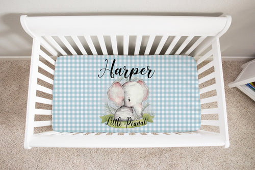 Peanut Personalized Minky Crib Sheet, Elephant Nursery Bedding
