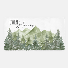 Load image into Gallery viewer, Forest Personalized Crib Sheet, Woodland Nursery Bedding - Enchanted Green