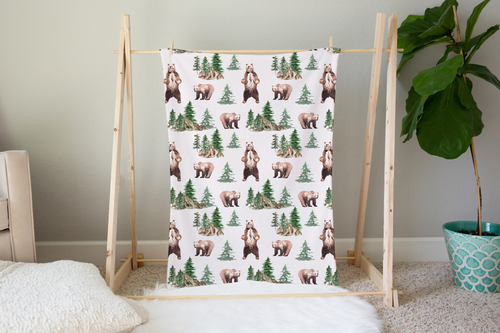 Grizzly Bear and Trees Minky Blanket, Woodland Nursery Bedding