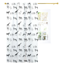 Load image into Gallery viewer, Black and White Safari Curtain Single Panel, Safari Nursery Bedding - Black Africa