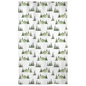 Pine Tree and Mountains Curtain Blackout or Sheer, Forest Nursery Decor - Enchanted Green