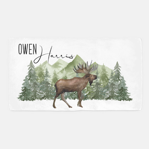 Moose Personalized Crib Sheet, Woodland Nursery Bedding - Enchanted Green