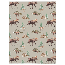 Load image into Gallery viewer, Wild Moose and Trees Minky Blanket, Woodland Nursery Bedding