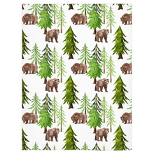 Load image into Gallery viewer, Coniferous Trees and Bear Minky Blanket, Forest Nursery Bedding - Into The Woods