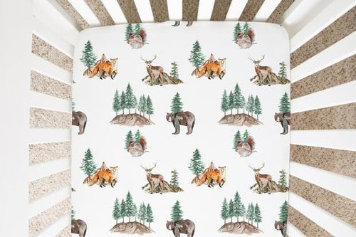 Woodland Crib Sheet, Forest Nursery Bedding - Little Explorer