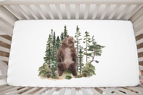 Bear Crib Sheet, Woodland Nursery Bedding - Forest Mist