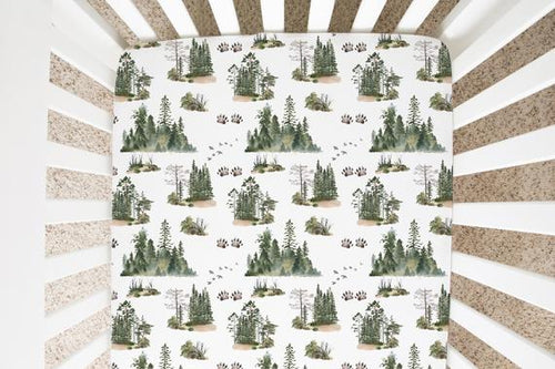 Bear Track  Crib Sheet, Forest Nursery Bedding - Forest Mist